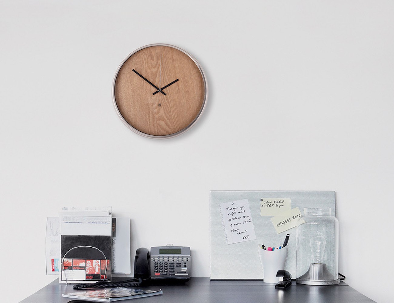 Madera Wooden Clock by Umbra
