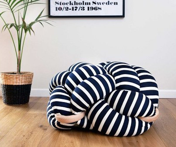 White and Dark Blue Stripes Knot Floor Cushion by Knots Studio