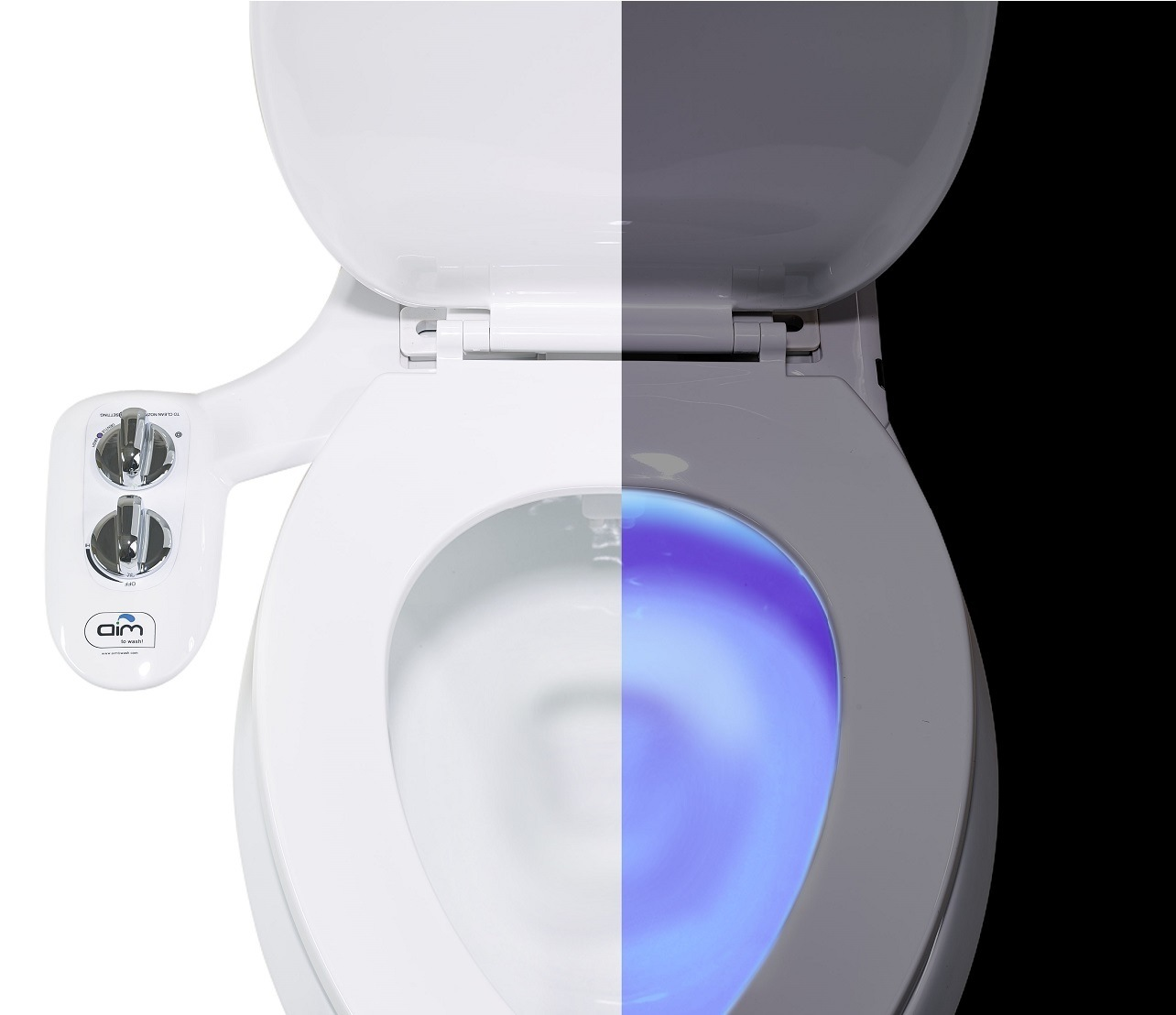 Aim to Wash! Self Cleaning Bidet Attachment With Night Light