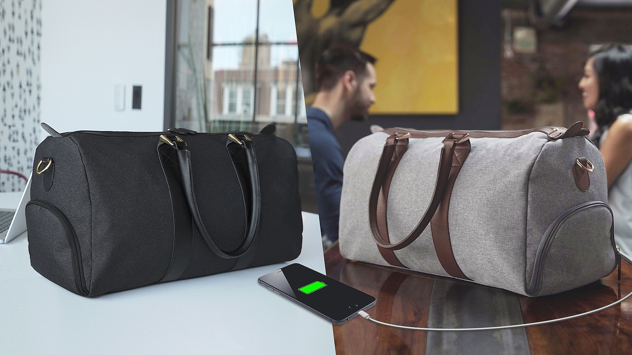 The Stylish Travel Duffle that Charges Your Phone