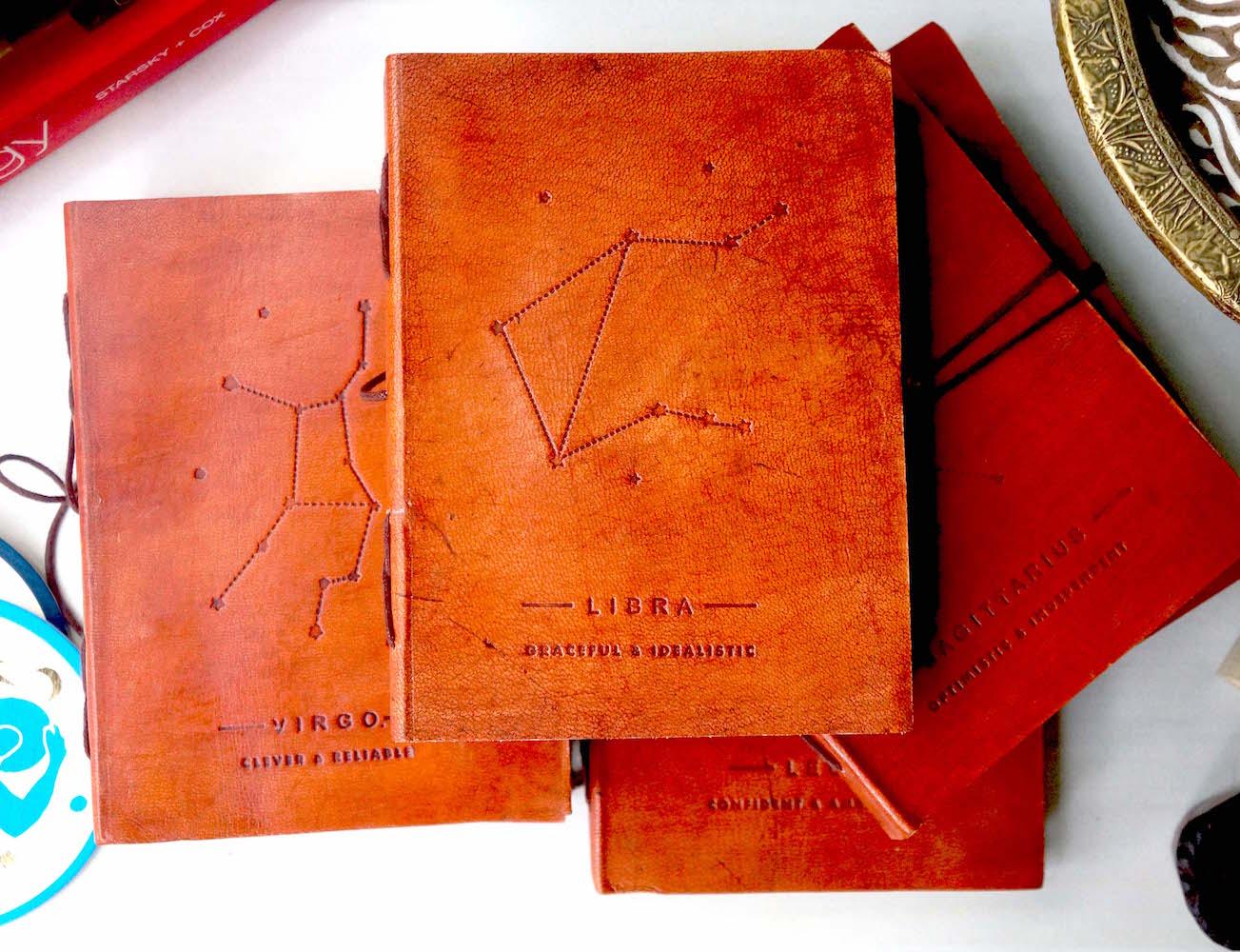 Zodiac+Handmade+Leather+Journal