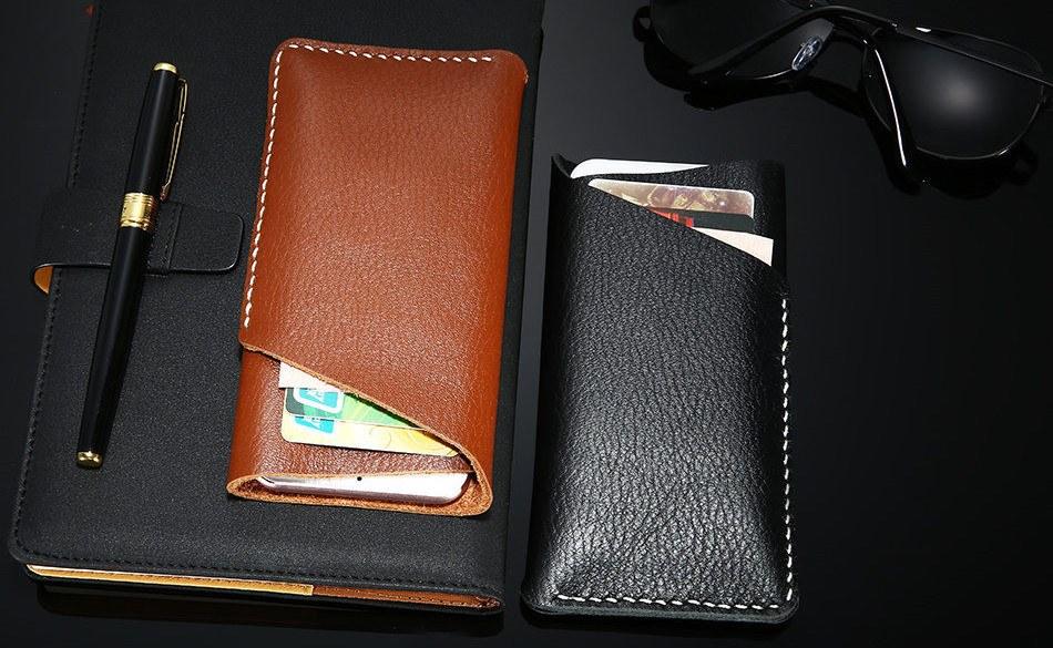FLOVEME Genuine Leather Universal Wallet Case