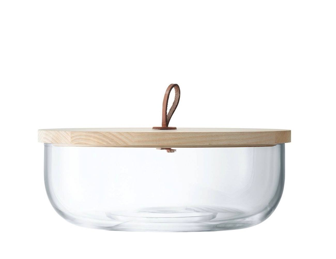 Ivalo Wide Glass Container with Ash Wood Lid