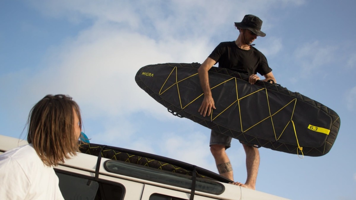 MIGRA functional surfboard bag is great for adventurers