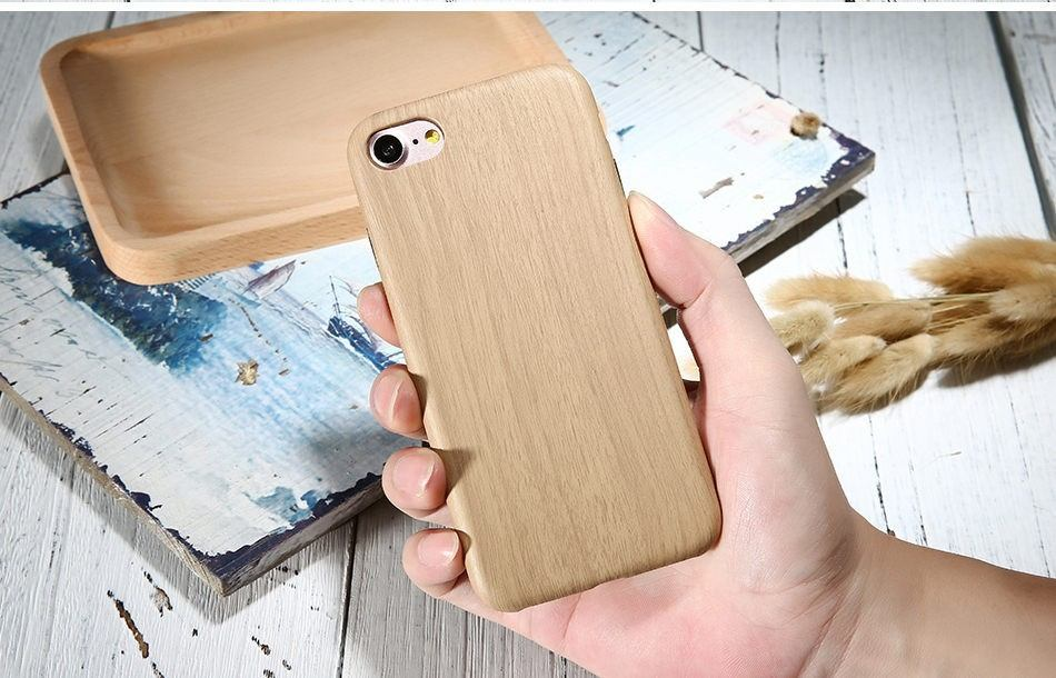 Retro Wood Pattern Leather iPhone 7 Case