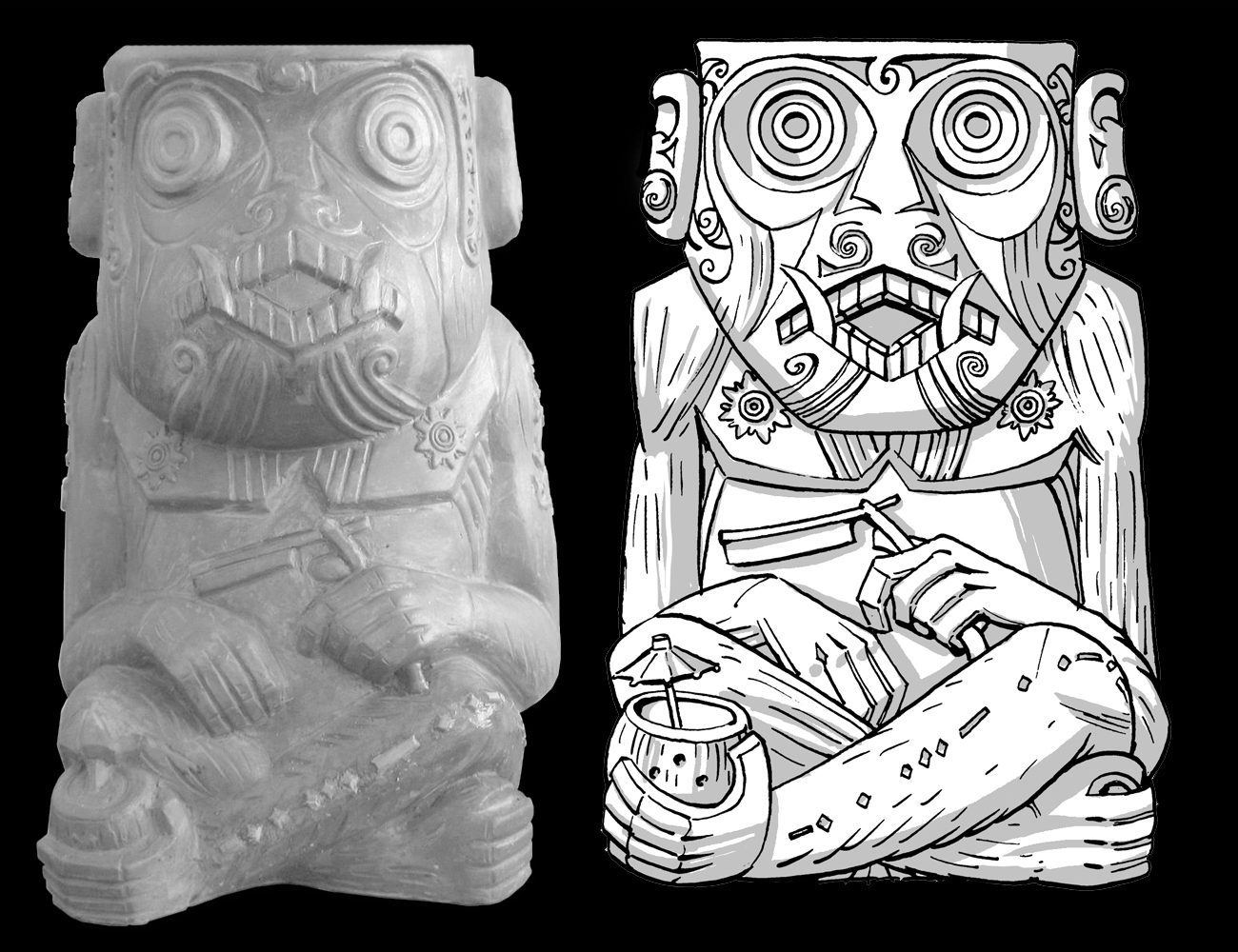 Rue Morgue Murderous Ape Tiki Mug from Horror In Clay