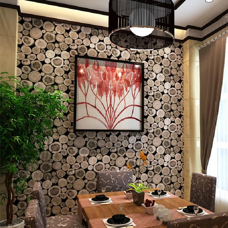 3D Wooden Log Texture Wallpaper
