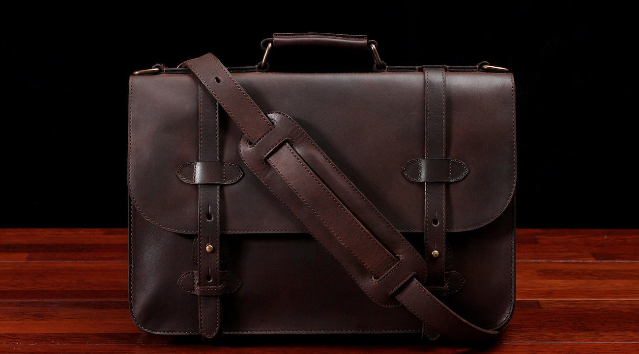 Alpha 15 Classic Leather Briefcase by Cravar