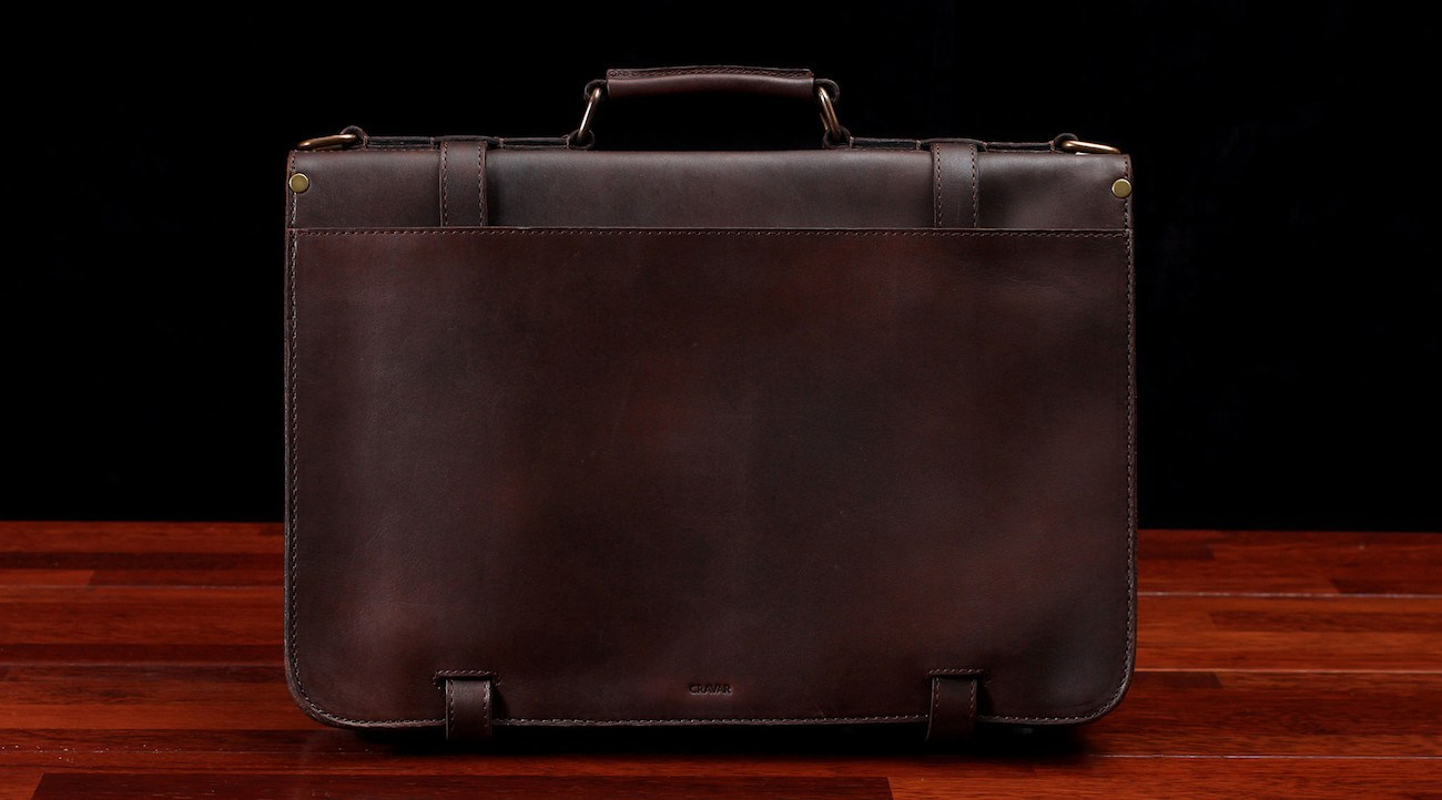 Alpha 15 Classic Leather Briefcase by Cravar
