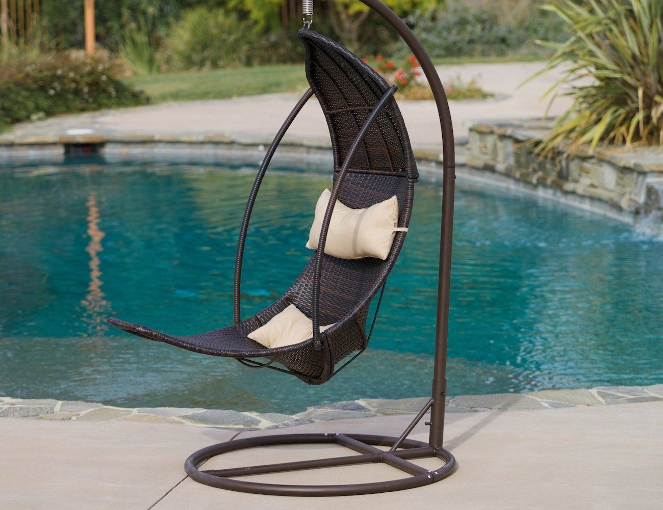 Brown Wicker Hanging Swing Chair