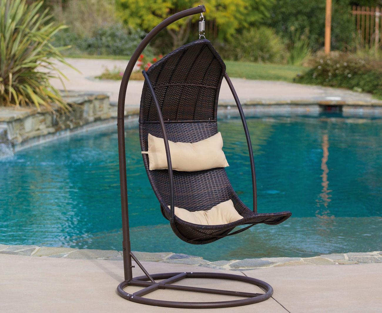 Brown Wicker Hanging Swing Chair