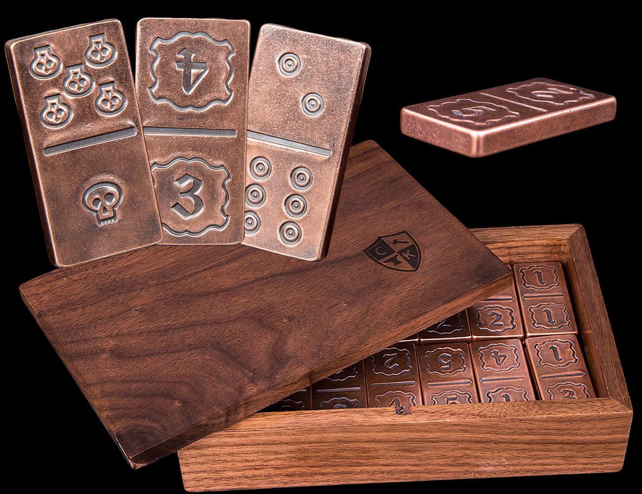 Handmade+Solid+Copper+Metal+Domino+Game+Set+In+Box+%26amp%3B+Dice