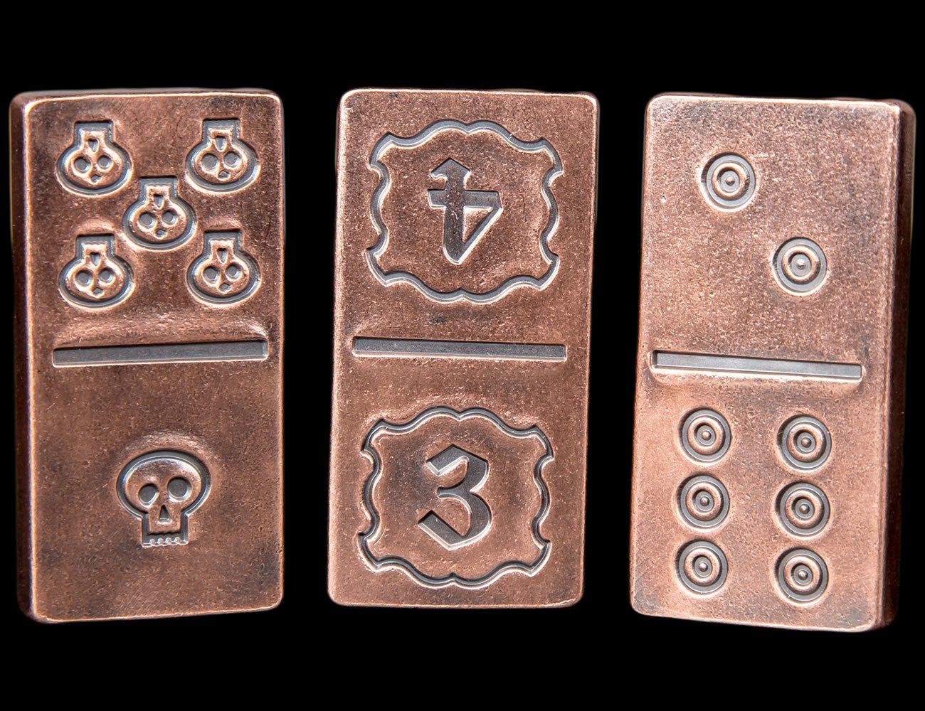 Handmade Solid Copper Metal Domino Game Set in Box & Dice