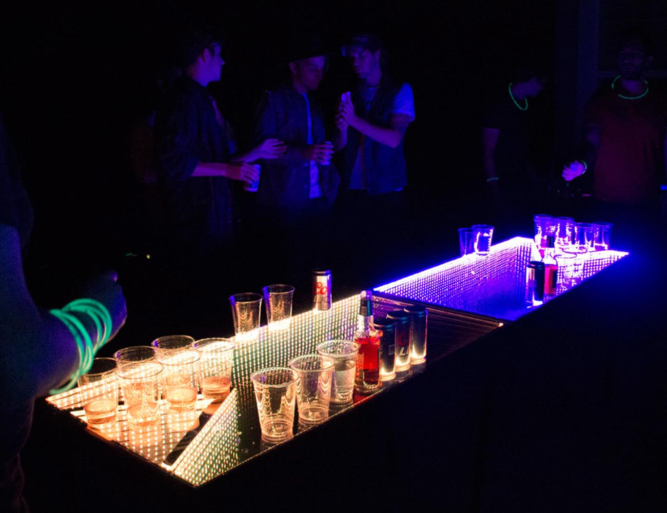 infinity glow l e d beer pong table gadget flow rh thegadgetflow com beer pong tables spencer's beer pong tables walmart