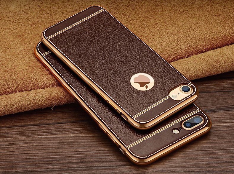 quite nice b7308 894b5 Litchi Grain Back Cover For iPhone 7