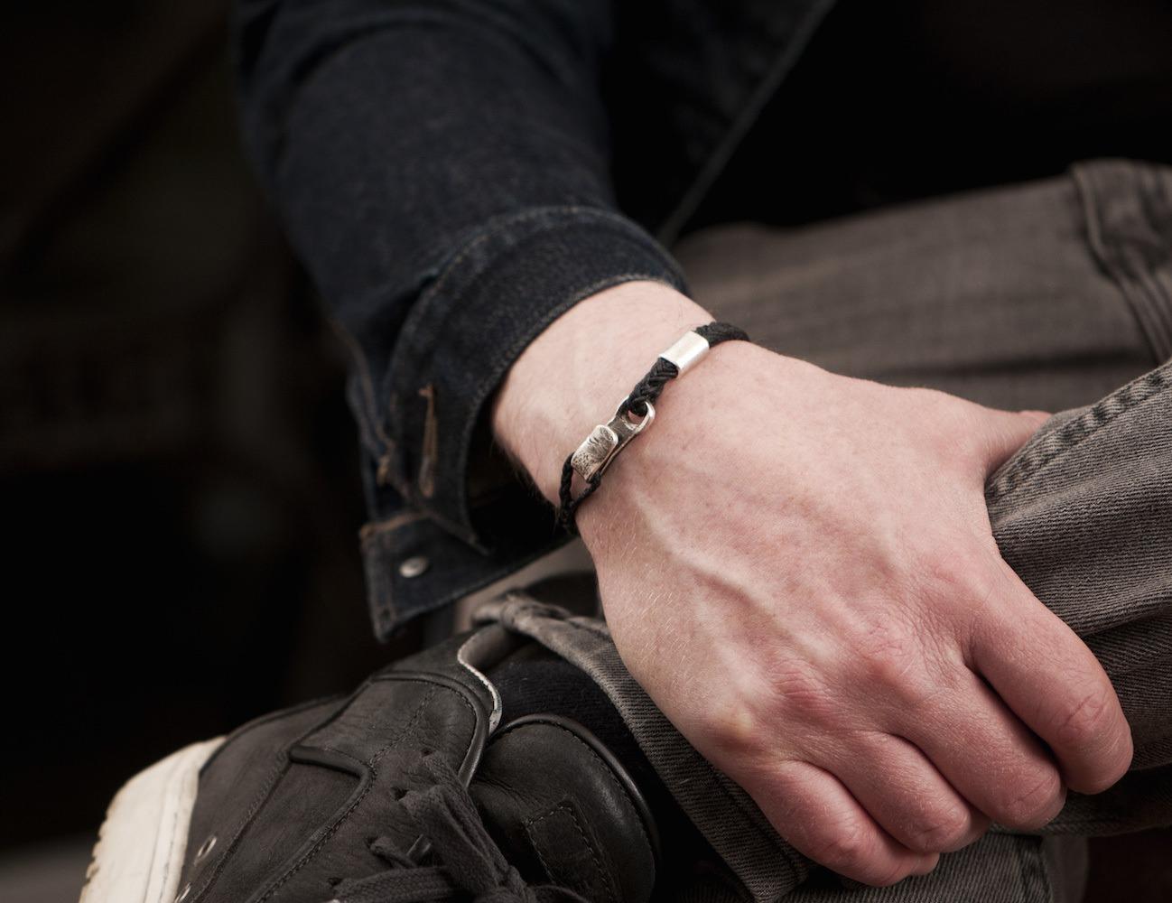 #49 – Men's Bracelet Canvas Sterling Silver Hook Black