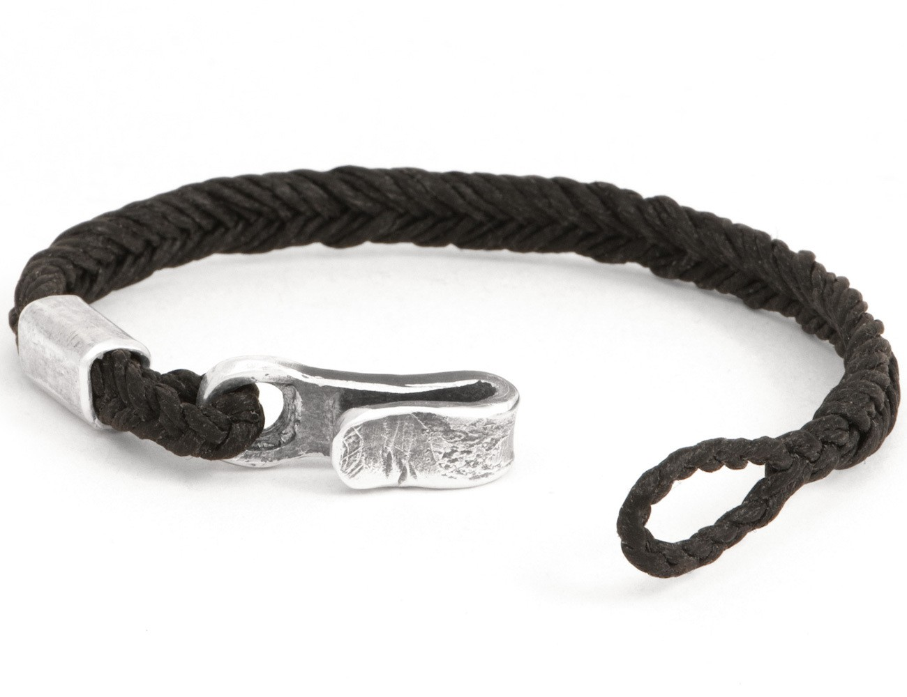 #49 – Men's Bracelet Canvas Sterling Silver Hook Black