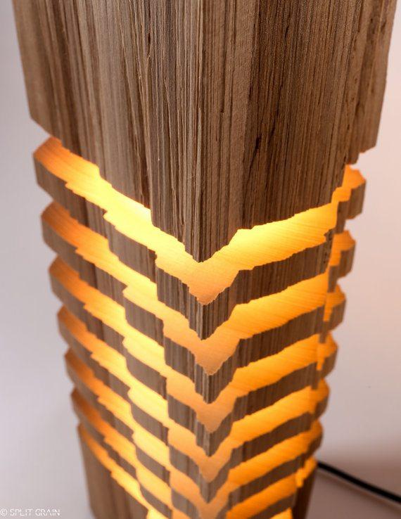 Modern Sliced Wood Light Sculpture