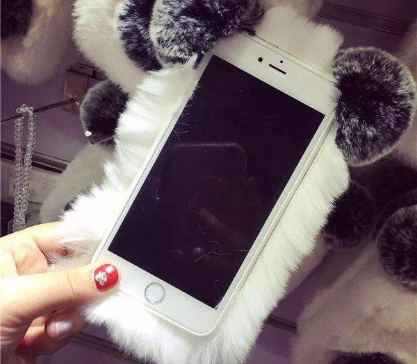Panda or Rabbit Fur Phone Case