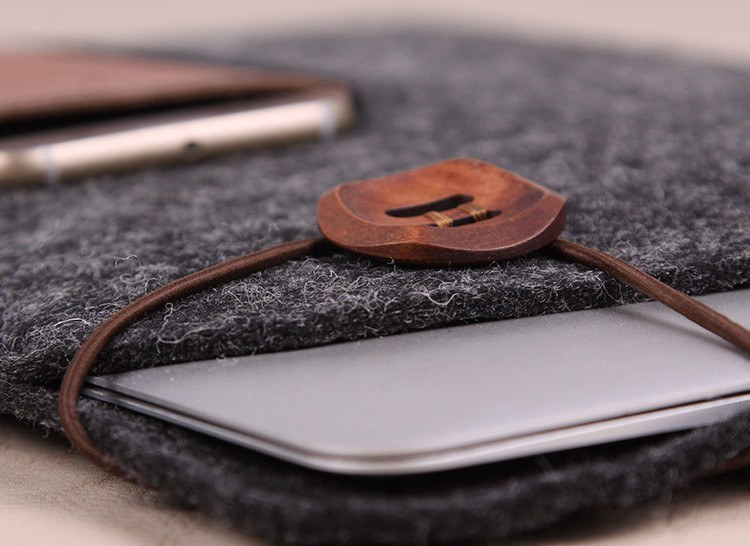 Felt and Leather MacBook Case With iPhone and iPad Storage
