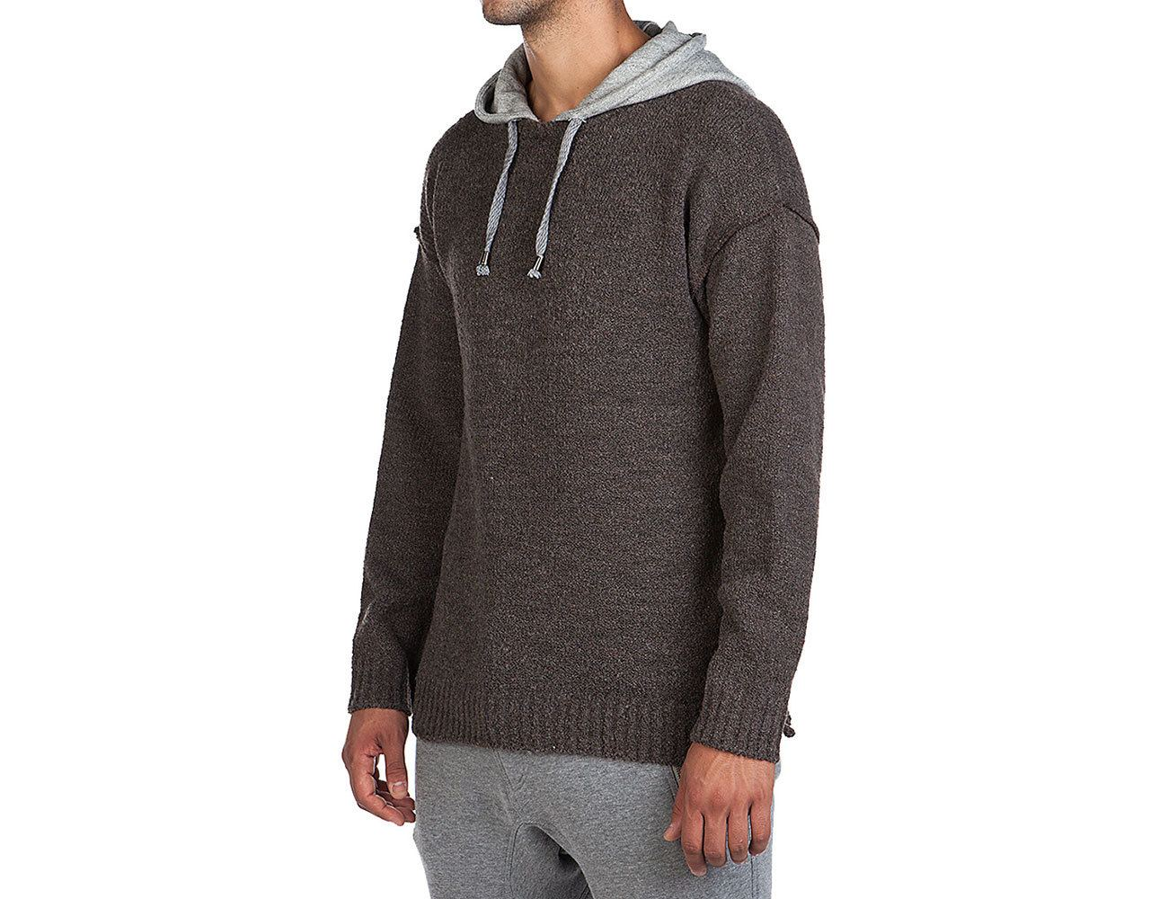 Hooded Crew Neck Boiled Wool Blend Jumper Brown
