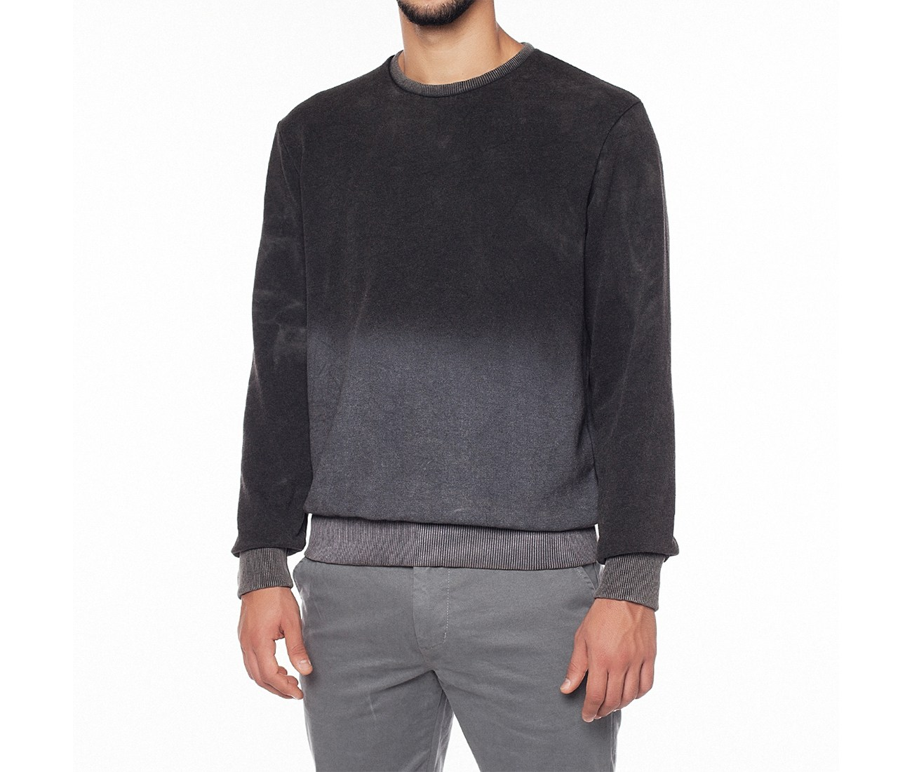 Dip Dye Black Cotton Sweatshirt by the Project Garments