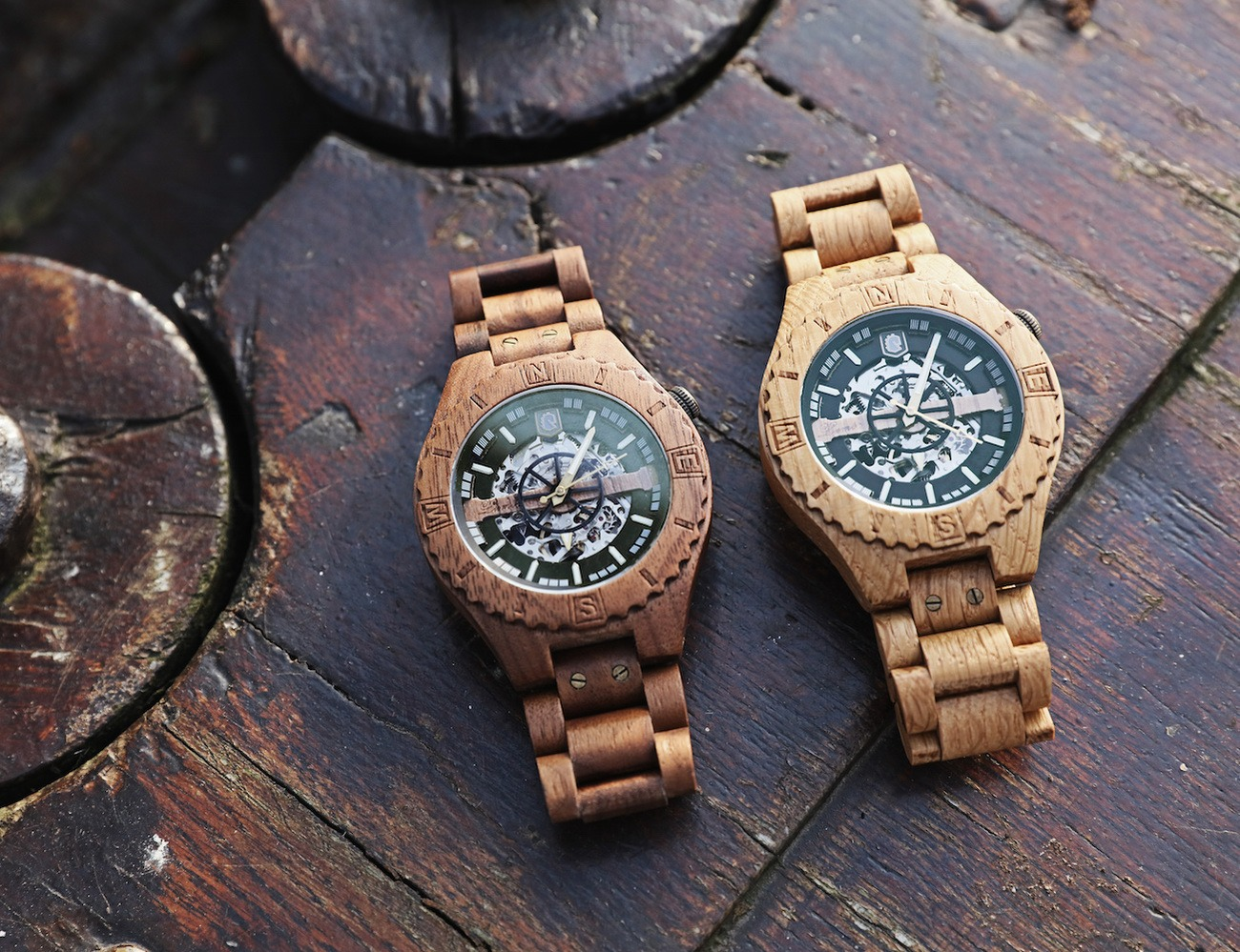 Troy – Handcrafted Wood Watch with Visible Skeleton