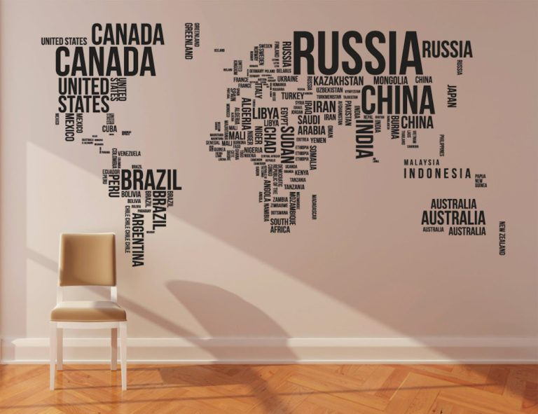 World+Map+Wall+Stickers