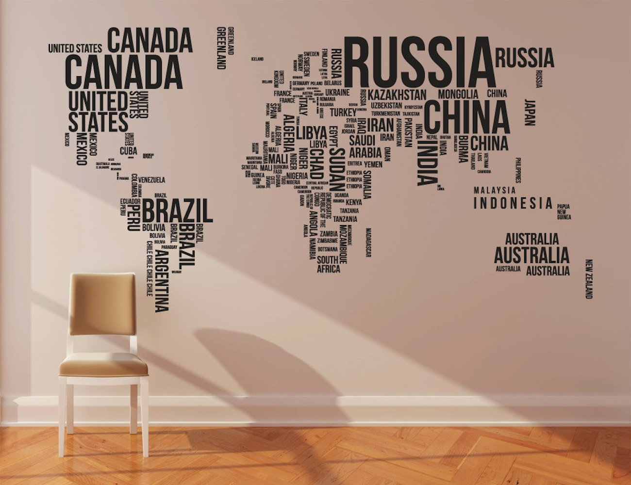 Superb World Map Wall Stickers