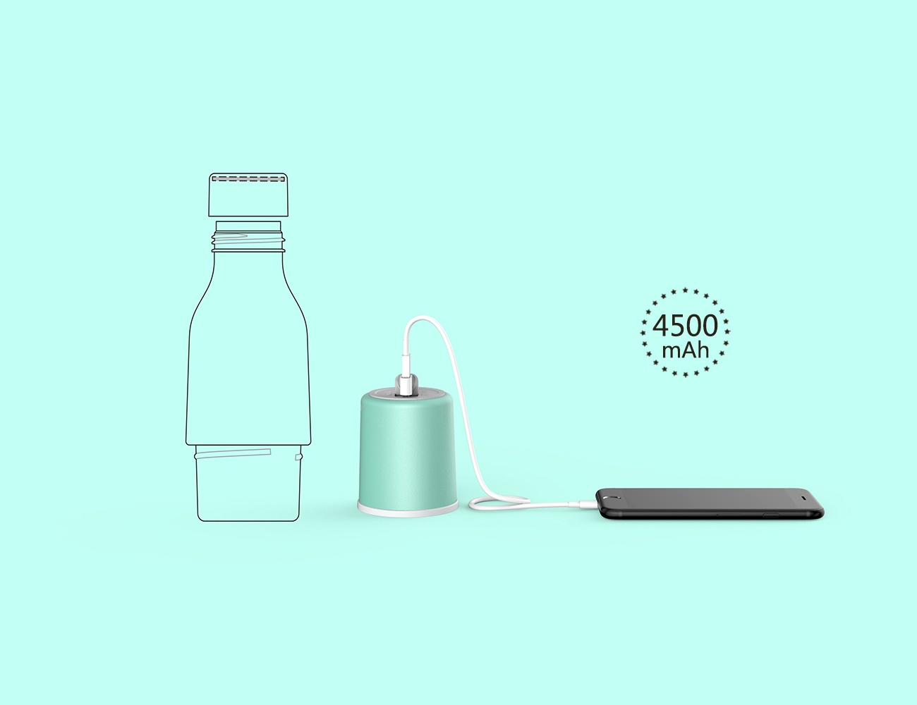 Wottle Water Bottle, Hand Warmer + Power Bank