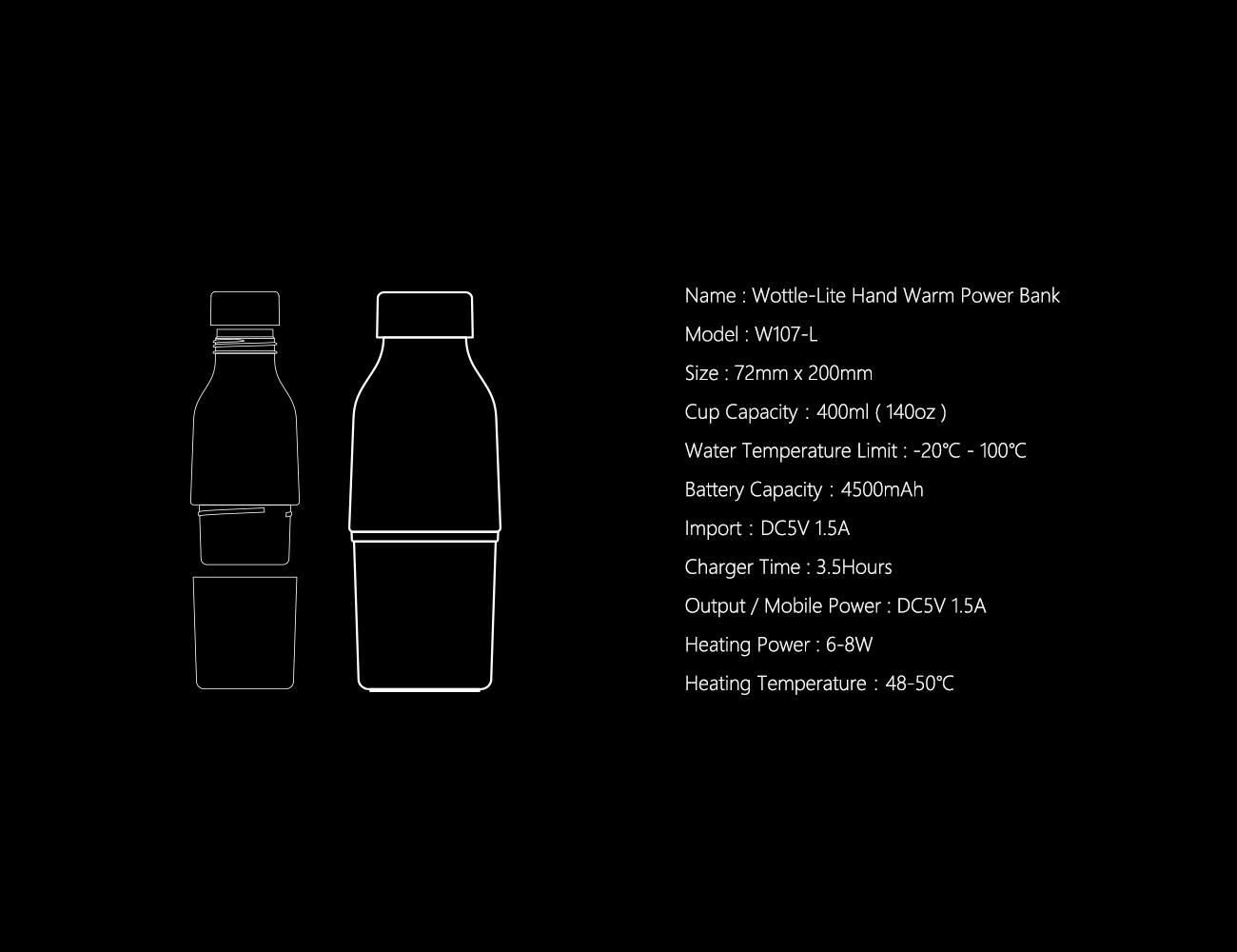 Wottle Water Bottle, Hand Warmer + Power Bank