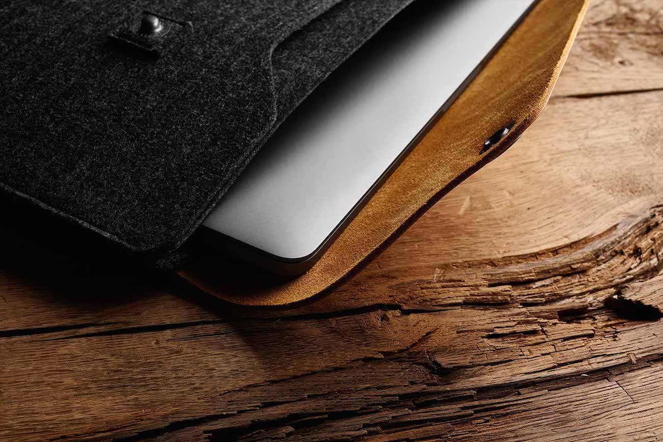 """Leather Laptop Sleeve for MacBook Pro 13"""""""