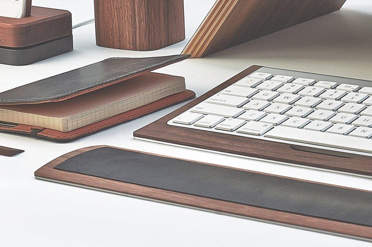 Leather and Walnut Keyboard Wrist Pad