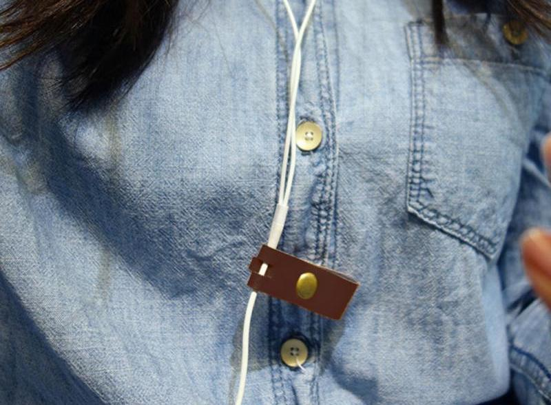 Reusable Soft Leather Earphone Cable Organizer