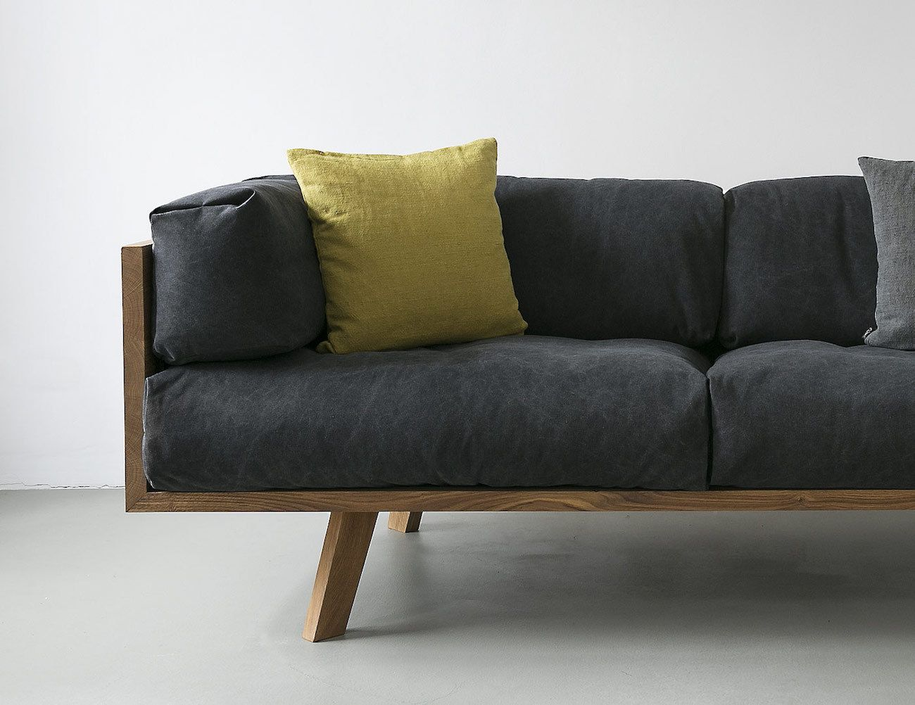 The Oak Linen Sofa from NUTSANDWOODS