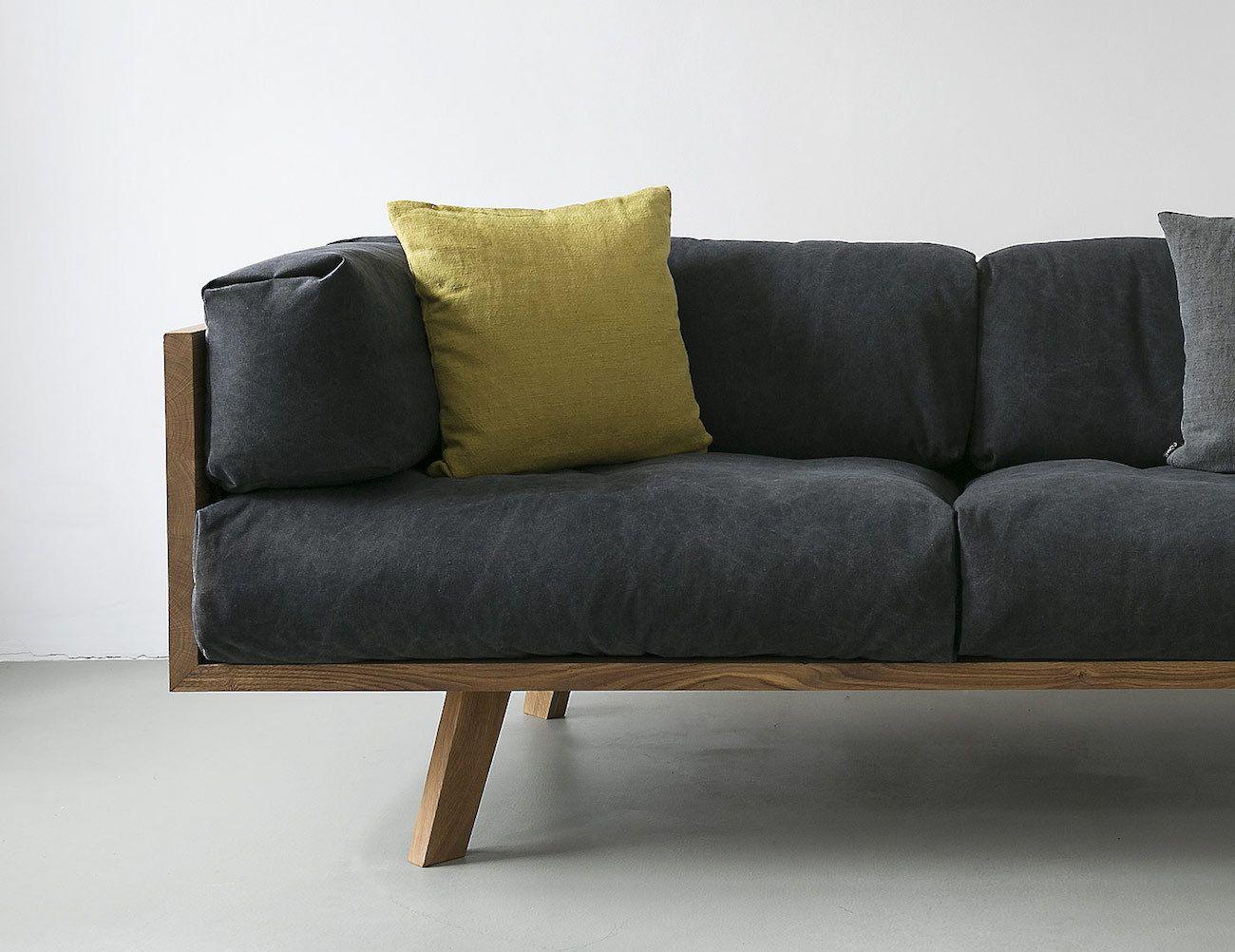The Oak Linen Sofa from NUTSANDWOODS