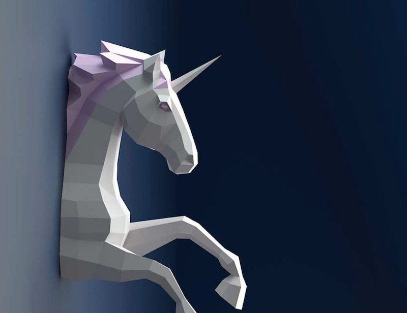 3D Unicorn Paper Sculpture