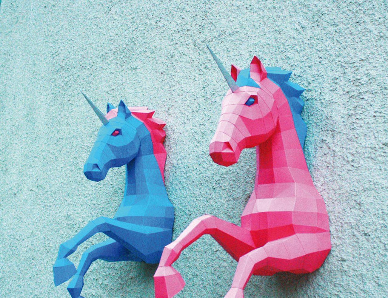 3D Unicorn Paper Sculpture