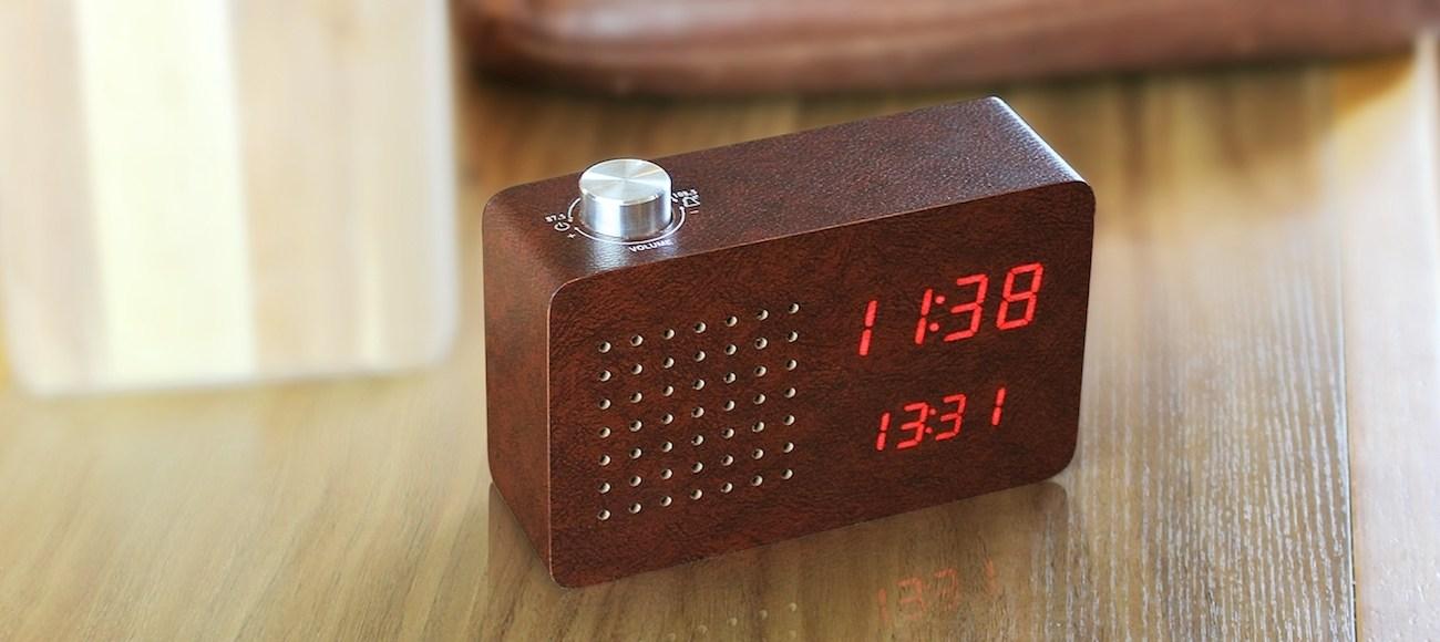 Leatherette+Click+Clock+Leather+Radio