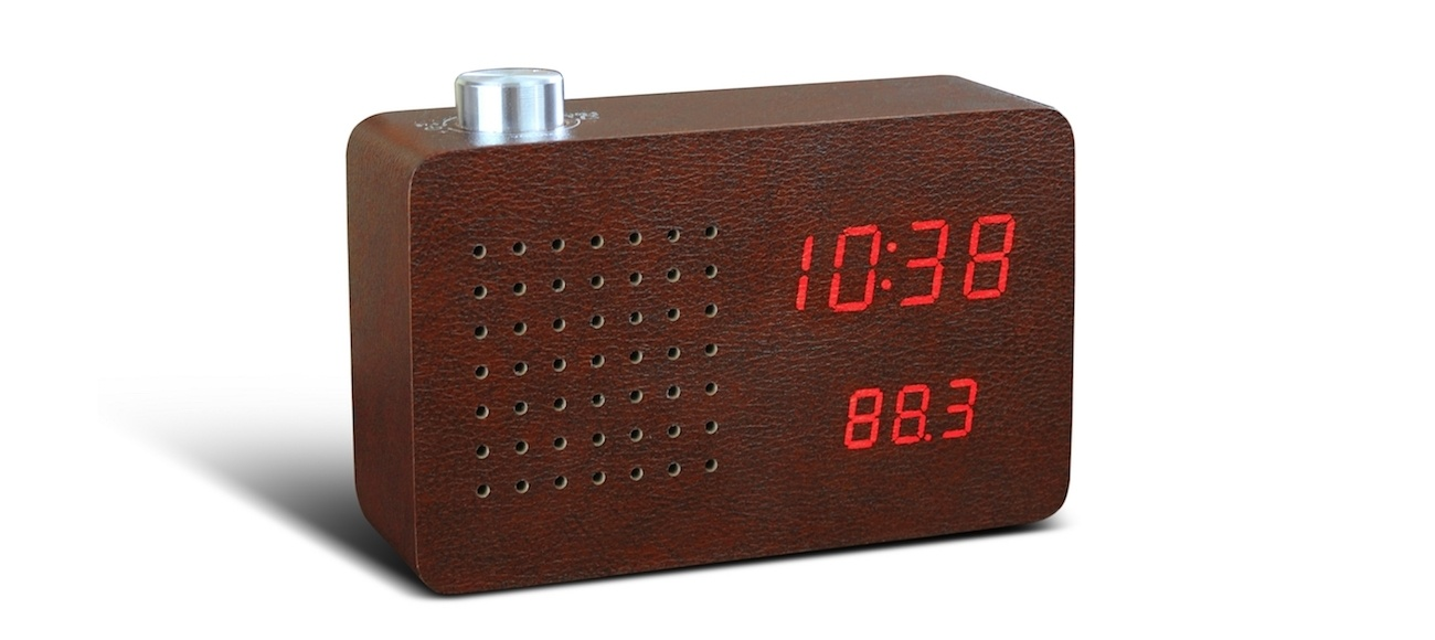 Leatherette Click Clock Leather Radio