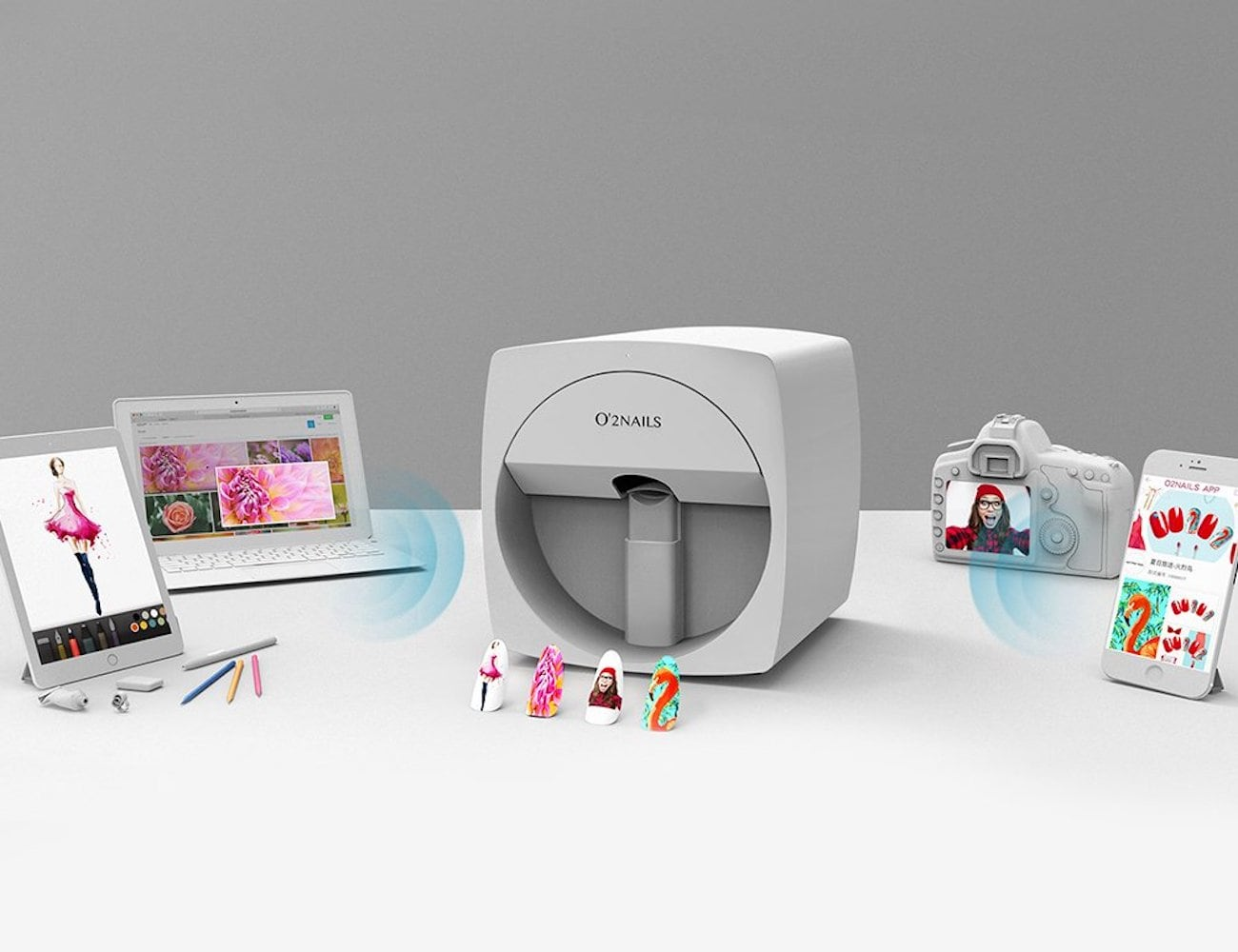 O'2 Mobile Nail Printer prints beautiful nails in seconds