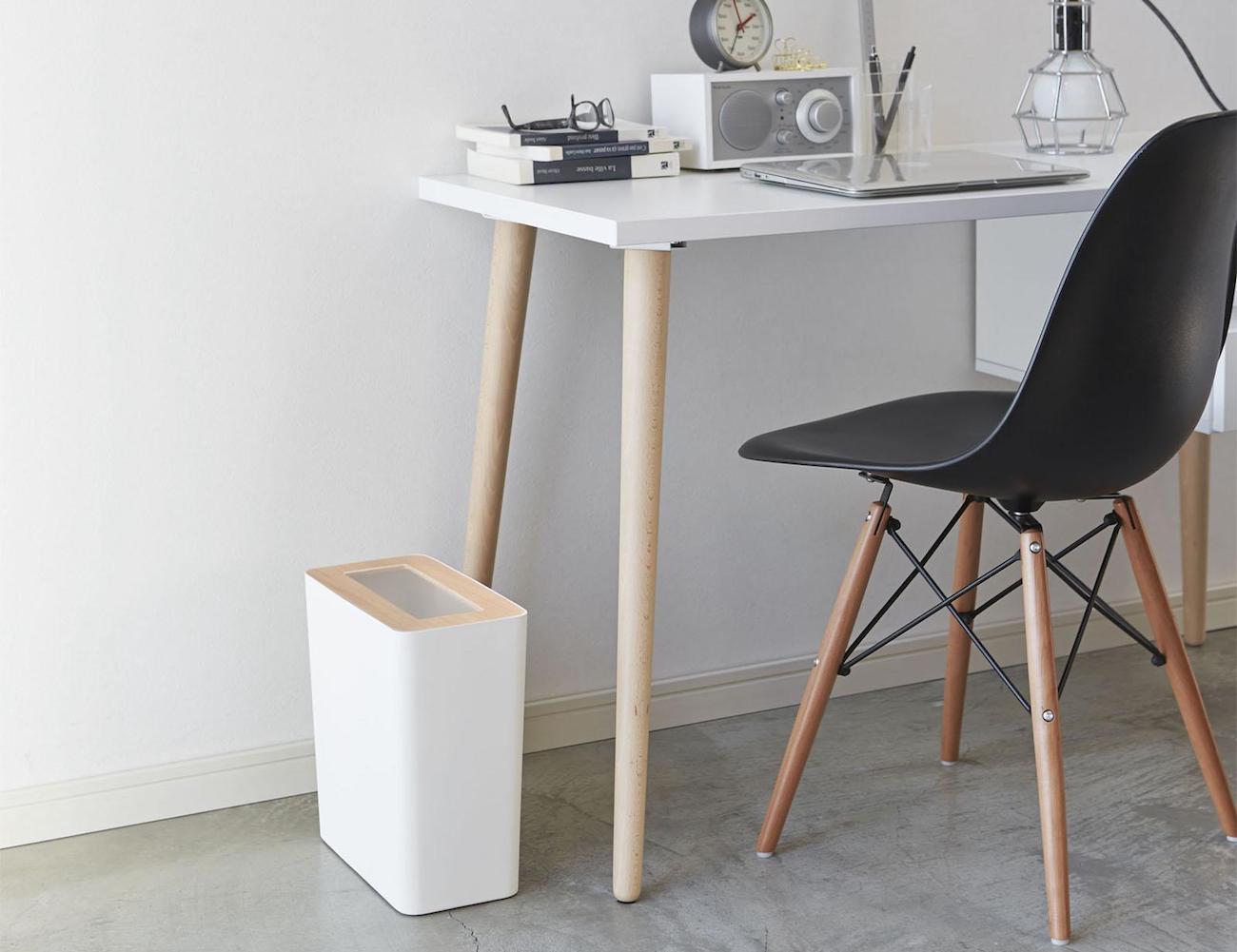 Rin Slim Trash Can with Wood Cover