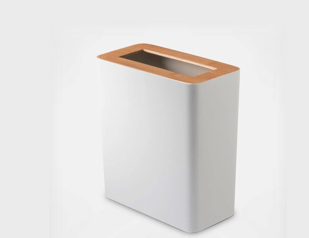 ... Rin Slim Trash Can With Wood Cover
