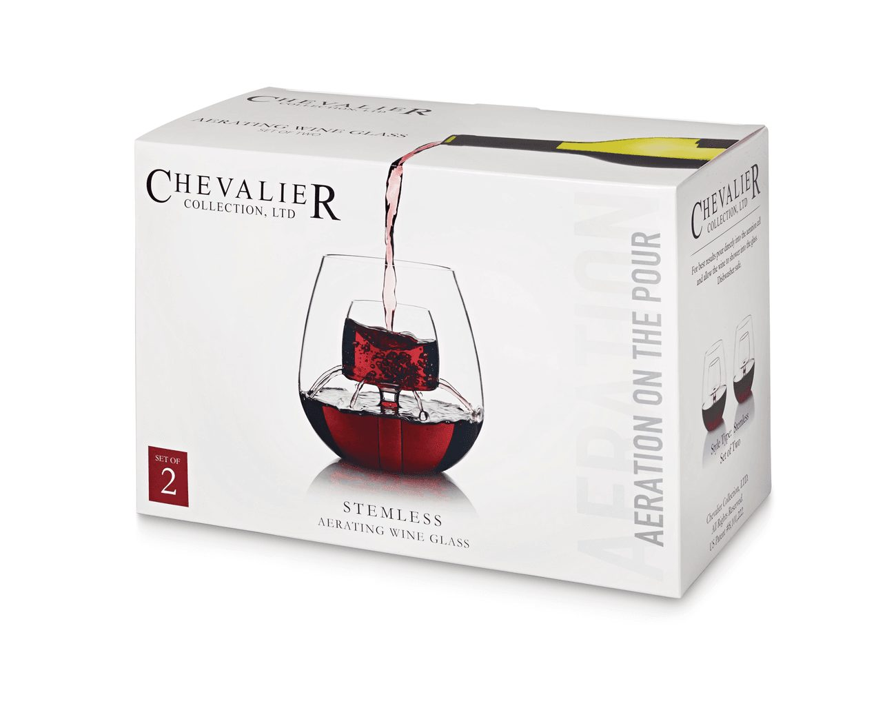Chevalier Stemless Aerating Wine Glass (Set of 2)