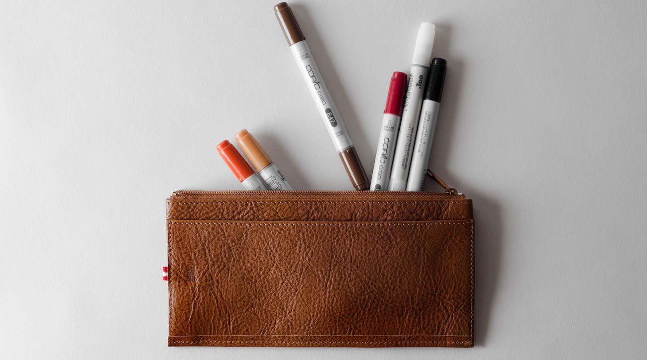Trip+Leather+Pencil+Case+By+Hard+Graft