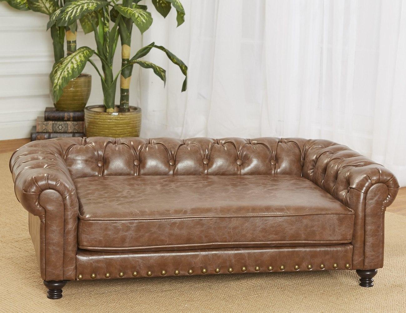 wentworth tufted dog sofa gadget flow rh thegadgetflow com leather sofa dog proof leather sofa dog friendly