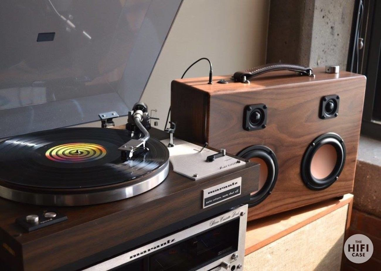 Modern Walnut Wood Boombox