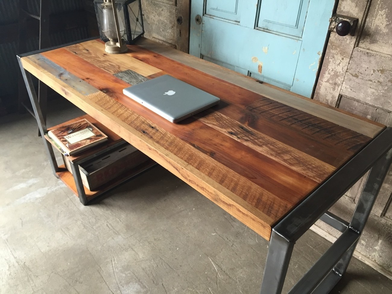 Wooden Computer Desk ~ Reclaimed wood patchwork desk gadget flow