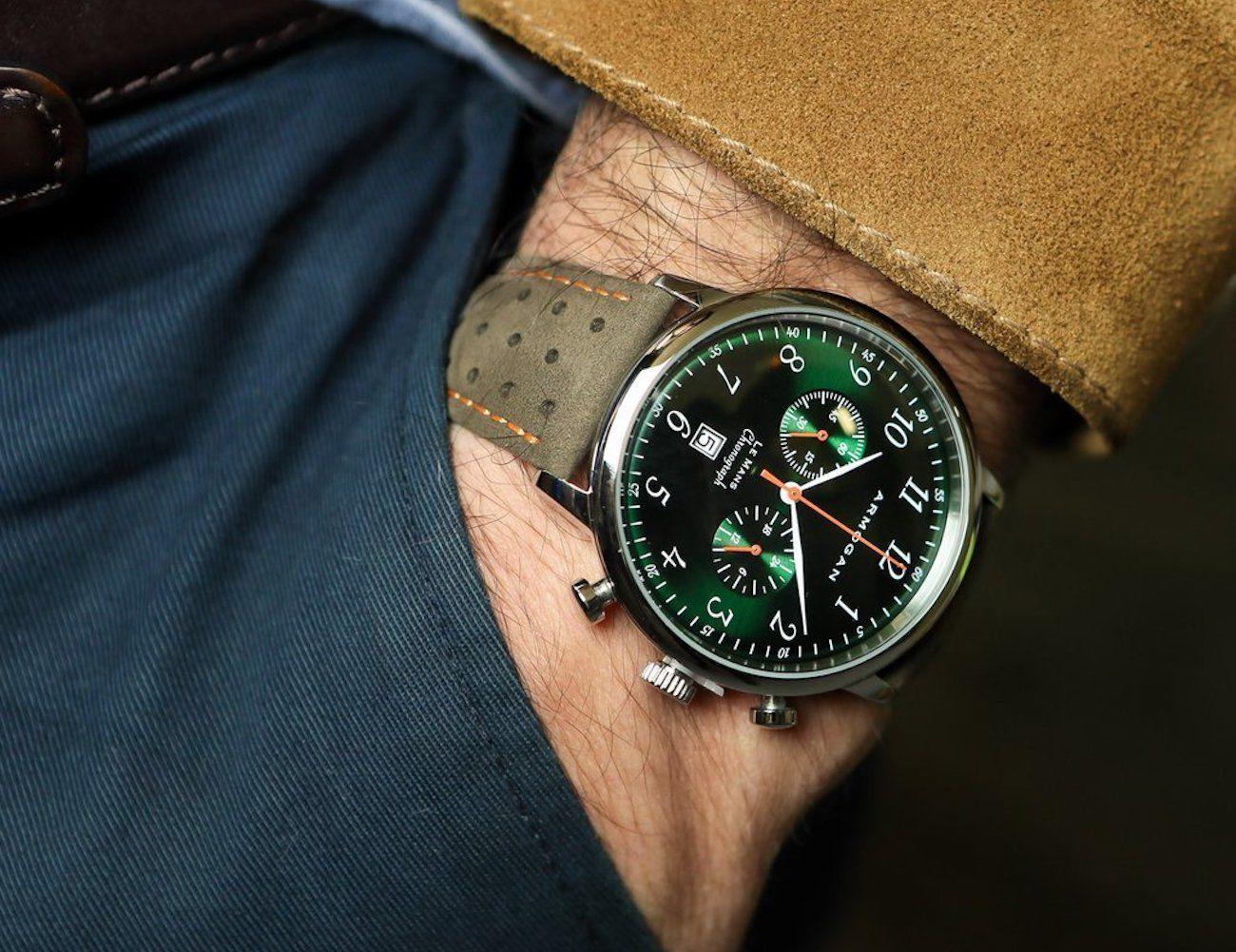 Armorgan+Emerald+Green+Chronograph+Watch