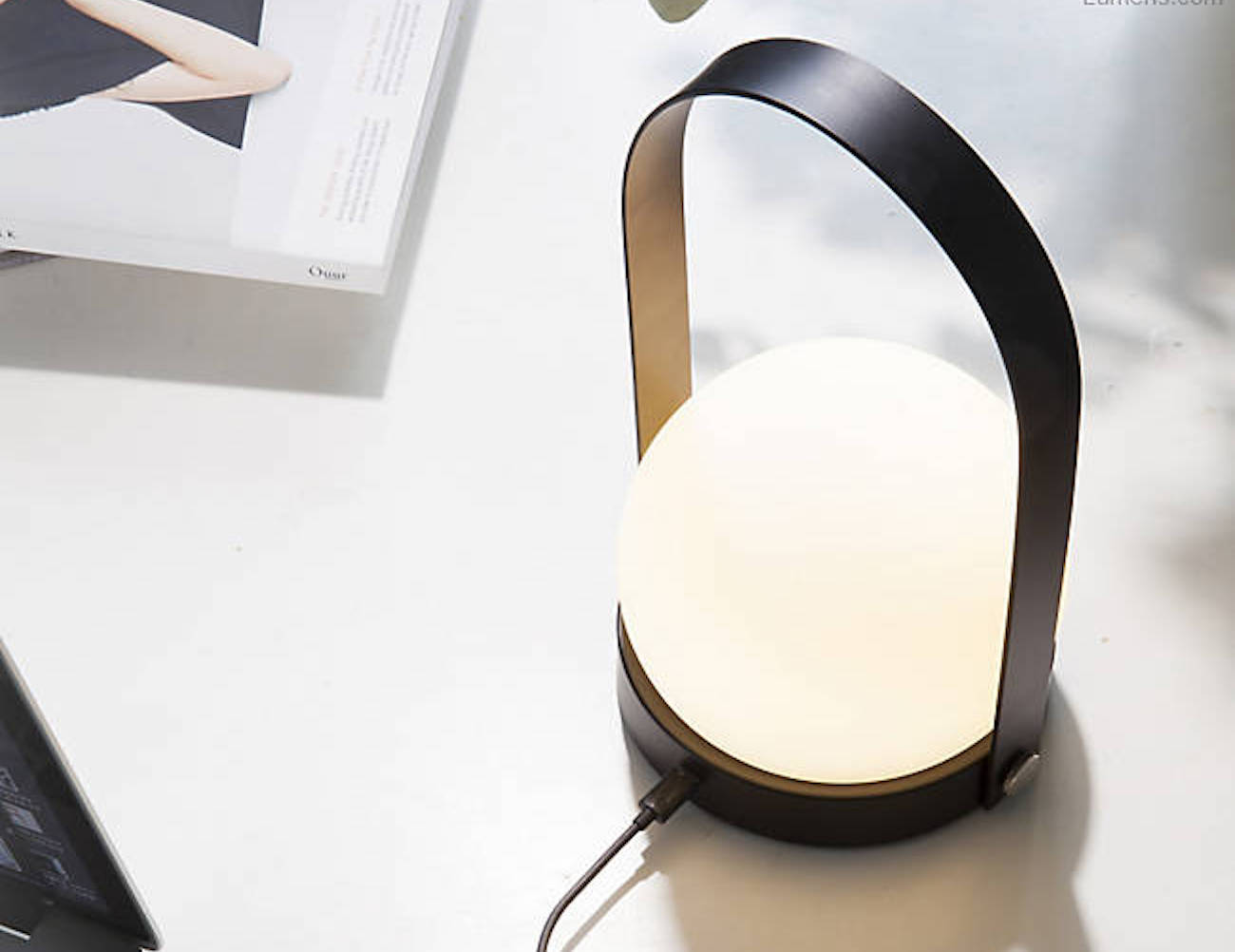 led compact lamp portable rechargeable desk silver